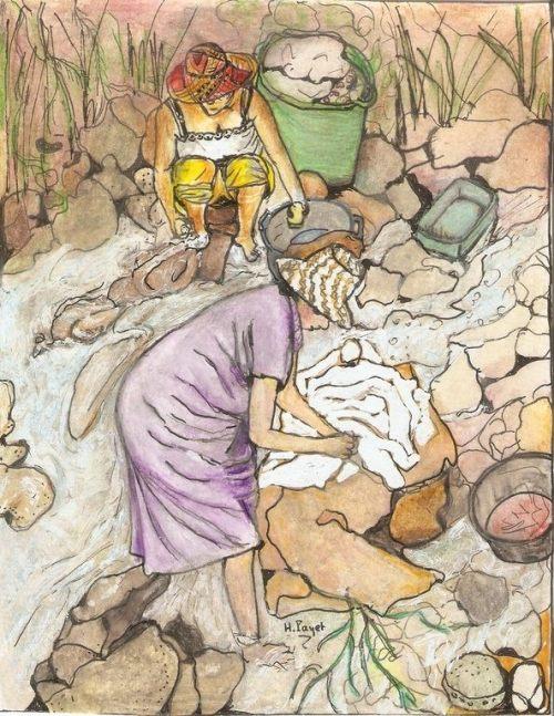 Les femmes de l'eau, (Dessin H. Payet).