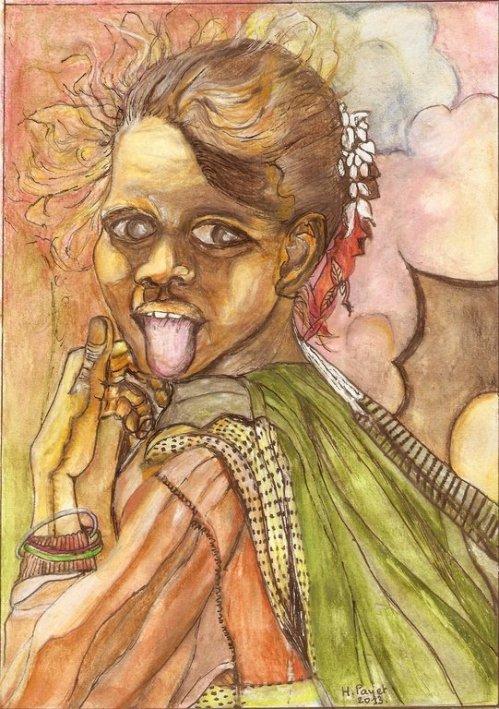L'illustration  est l'oeuvre de Mme Huguette PAYET