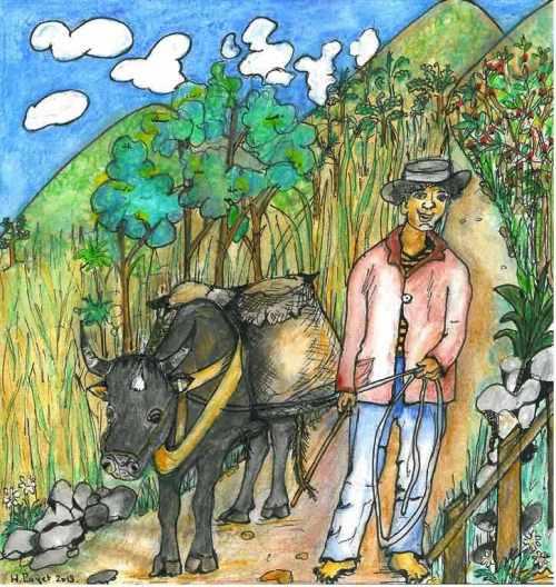 Un bœuf-panneaux et son maître imaginés par Huguette Payet