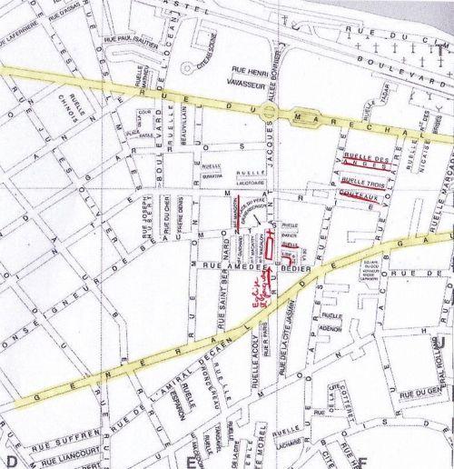 Plan des ruelles du quartier Saint-Jacques