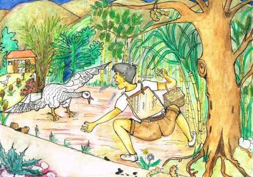 Face à face avec le jars (Illustration Huguette Payet)