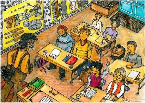 Jour de rentrée à l'École Manuelle (Illustration Huguette Payet)