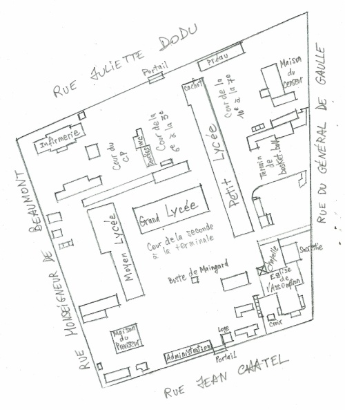 Plan du Lycée Leconte de Lisle dans les années 1960.