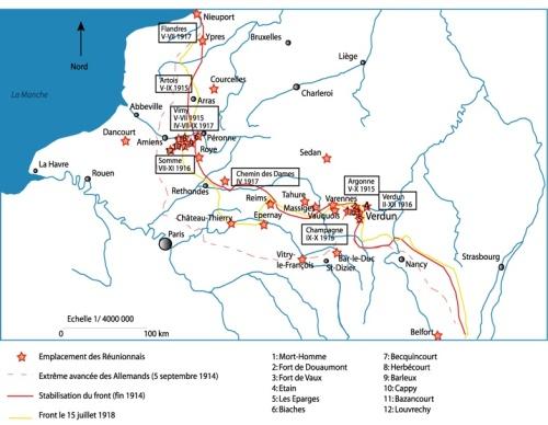 Présence des Réunionnais sur les fronts Nord-Est. Source R. Mnémosyne-Fèvre