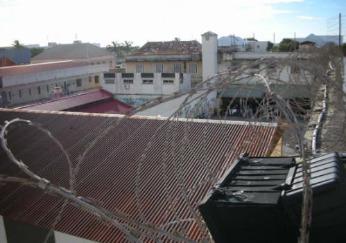 La prison vue d'un mirador. Photo : patrimoinecarceral.blogspot.com
