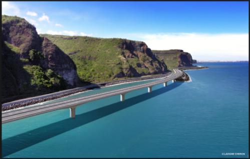 """""""La Région promet moins d'emplois (2.500) pour ce chantier en mer de 1,6 milliard € au départ, que la route des Tamarins (5.000) avec moins de 1,1 milliard € à sa réception."""""""