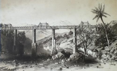 Aqueduc Chabrier dans la Ravine du Gol, Lithographie de l'Album de Bourbon de A. d'Hastrel