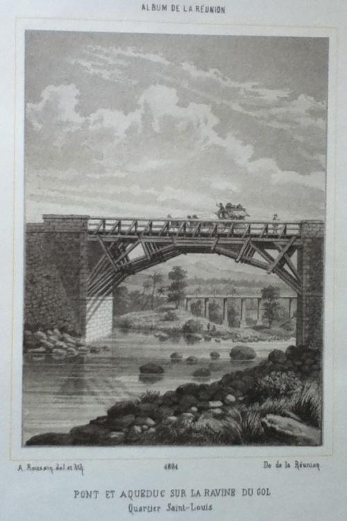 Pont et aqueduc sur la Ravine du Gol, Album de la Réunion, Roussin