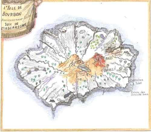 L'île Bourbon, dessin Huguette Payet, d'après la carte d'Étienne de Flacourt.