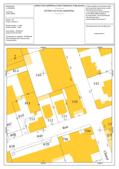 Sur le plan cadastral les deux cases traditionnelles créoles avant l'incendie ( N°s 551 et 552 ; 35 et 37 rue Félix Guyon).