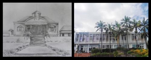 Photo : Mairie d'autrefois et d'aujourd'hui, dessin MCDF d'après photos et montage M.David