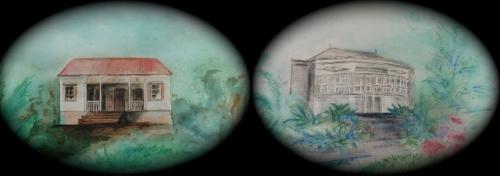 Photo Maisons d'autrefois: 1 Maison Sita/Davidsen 2. Maison R.Badré. Aquarelles MCDF,montage M.David