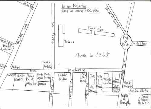 Plan du quartier dans les années 50 (JCL).