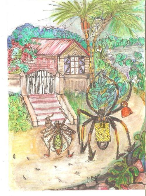 L'araignée Nephila inaurata dans ses oeuvres…(Aquarelle H. Payet).
