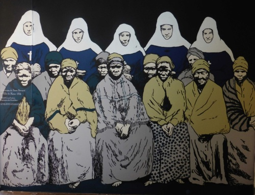 Les lépreuses de Saint-Bernard et les Filles de Marie, Fresque de l'exposition (1), par Kid Kréol & Boogie ( à partir de photos A.F.M vers 1856)