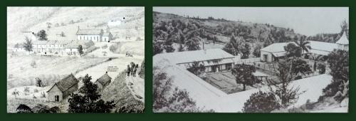 La léproserie. Photos de l'exposition (1): Lithographie de Roussin, 1868 et Carte postale, 1965, coll Kamboo