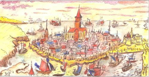 Saint-Malo, gravure du XVIIème siècle, revisitée par Huguette Payet, illustratrice dpr974.