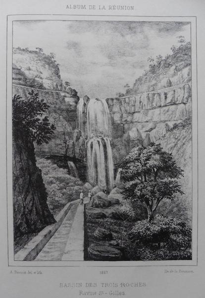 Le Bassin des Trois Roches (des Aigrettes), lithographie de A. Roussin, 1867