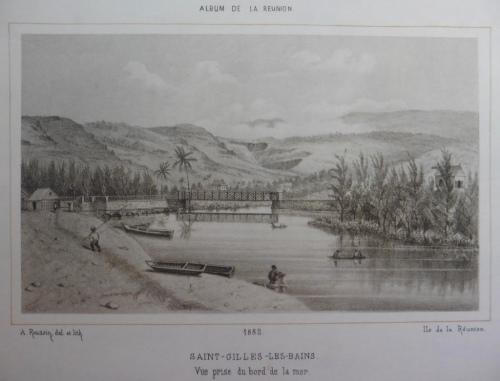 La Ravine Saint-Gilles, vue prise du bord de la mer, lithographie de A. Roussin, 1882