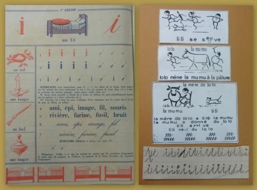 Extraits d'ouvrages du milieu du XXème siècle (éd Barcla et Nathan) et écriture, coll privée.